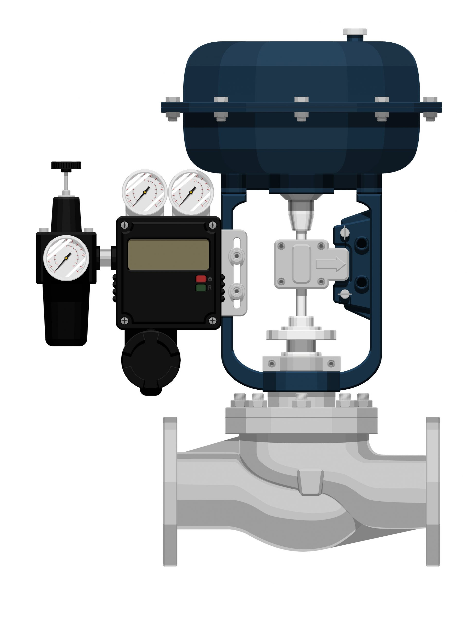 Image shows globe body control valve with diaphragm pneumatic actuator, and positioner, and filter regulator gauge.
